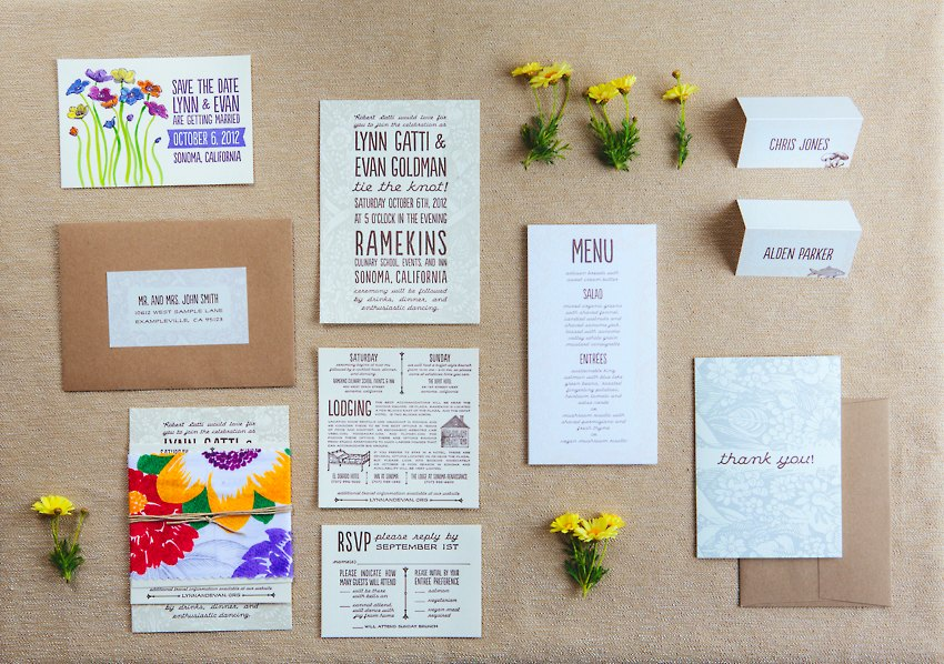 Watercolor Letterpress Wedding Invitations The Goodness 001
