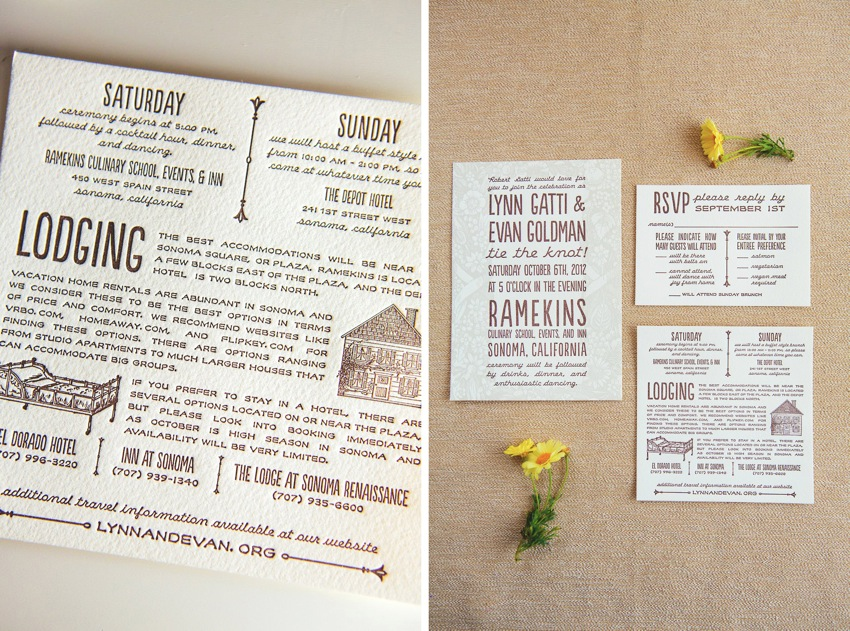 Evan and Lynn\'s watercolor letterpress wedding design | The Goodness